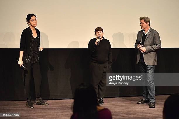 Sarah Gavron Abi Morgan and Josh Welsh attend the Film Independent hosts QA and reception for Suffragette at The London Hotel on November 9 2015 in...