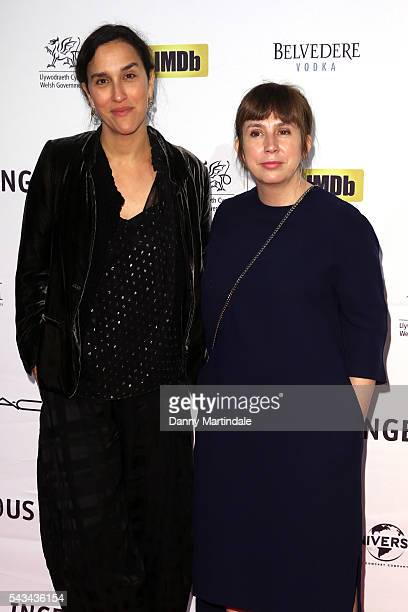 Sarah Gavron and Abi Morgan attends the National Film Television School's Gala red carpet arrivals at Old Billingsgate Market on June 28 2016 in...
