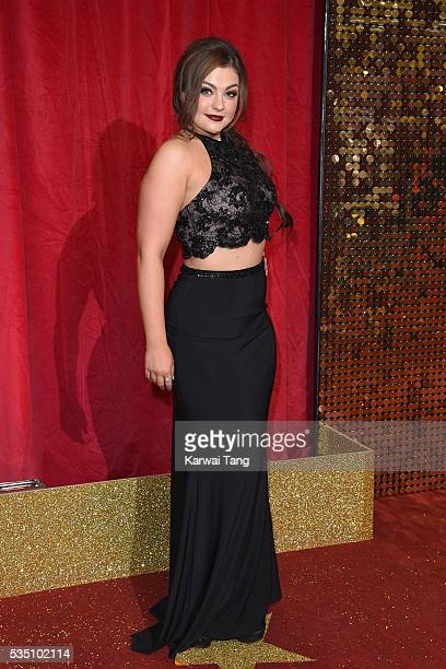 Sarah George arrives for the British Soap Awards 2016 at the Hackney Town Hall Assembly Rooms on May 28 2016 in London England