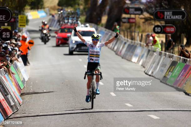 Sarah Gigante of Team Garmin Australia wins the Women's Bike Exchange Stage 2 from Birdwood to Lobethal of the Santos Festival of Cycling on January...