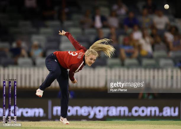 Sarah Glenn of England bowls during the ICC Women's T20 Cricket World Cup match between England and South Africa at the WACA on February 23, 2020 in...
