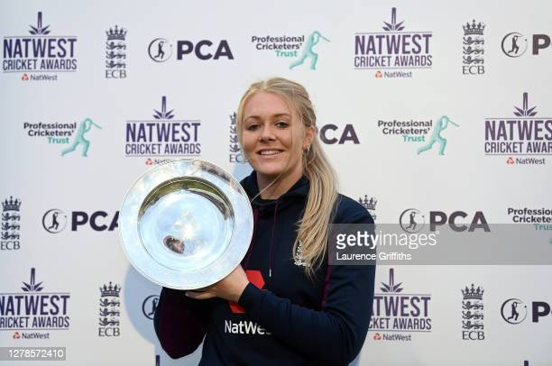 Sarah Glenn of England poses with the NatWest PCA Women's Player of the Year trophy awarded as part of the 2020 NatWest Cricket Awards after the 5th...