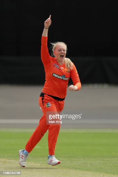 Sarah Glenn of the Scorchers celebrates taking the wicket of Jess Jonassen of the Heat during the Women's Big Bash League WBBL match between the...