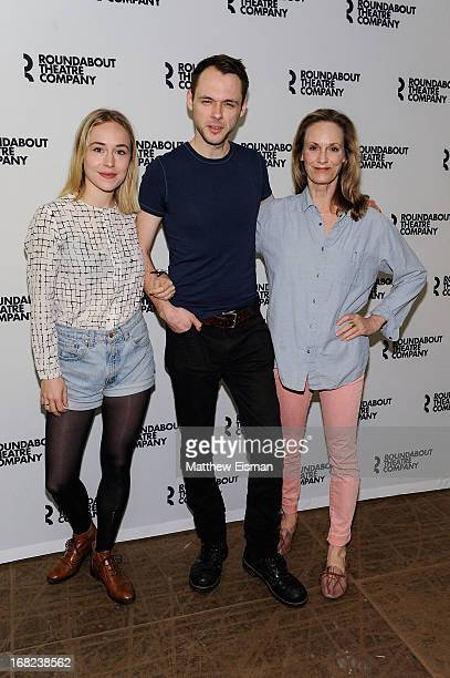 Sarah Goldberg Christopher Denham and Lisa Emery attend the The Unavoidable Disappearance of Tom Durnin OffBroadway Cast Photo Call on May 7 2013 in...