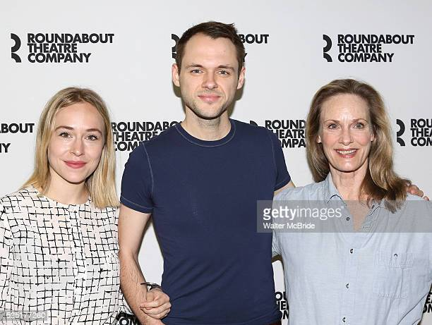 Sarah Goldberg Christopher Denham Lisa Emery attending the Meet and Greet the Cast and Creative Team of the Roundabout Theatre Company's Off Broadway...