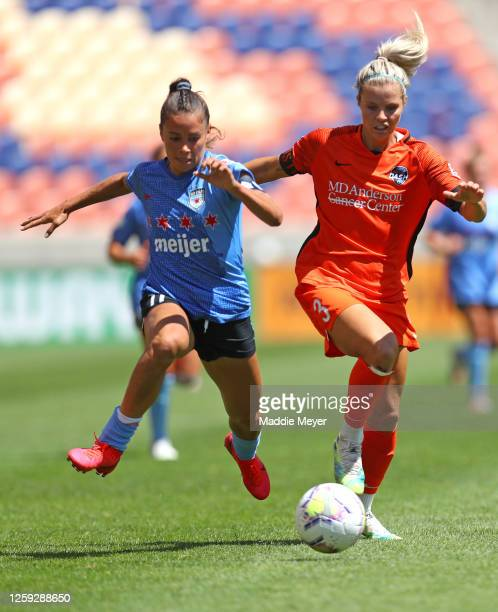 Sarah Gorden of Chicago Red Stars defends Rachel Daly of Houston Dash in the championship game of the NWSL Challenge Cup at Rio Tinto Stadium on July...