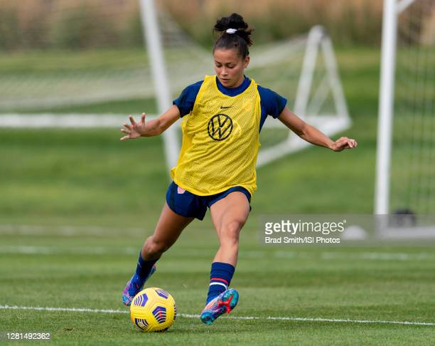 Sarah Gorden of the USWNT dribbles during a training session at Dick's Sporting Goods Park training fields on October 20 2020 in Commerce City...