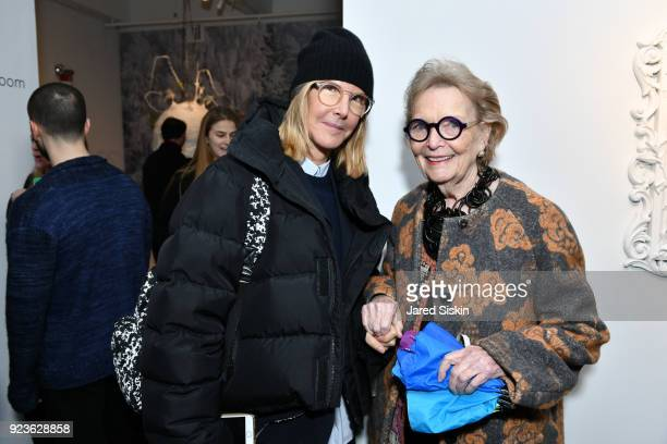 Sarah Gore Reeves and Peg Lee attend Rachel Lee Hovnanian 'The Women's Trilogy Project' Part 1 NDD Immersion Room at Leila Heller Gallery on February...