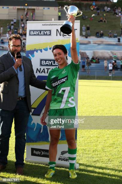 Sarah Goss of Manawatu after winning the Women's Championship Cup Final against Auckland during the NZRU National Sevens tournament on January 12,...