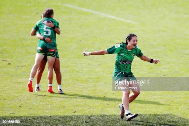 Sarah Goss of Manawatu celebrates after winning the Bayleys National Sevens Women's Cup Final match between Manawatu and Waikato at Rotorua...