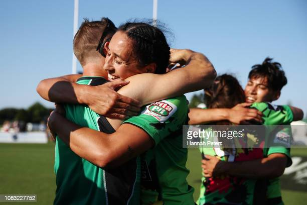 Sarah Goss of Manawatu celebrates with her team after winning the Women's Cup Final against Waikato during the TECT National Sevens tournament at...