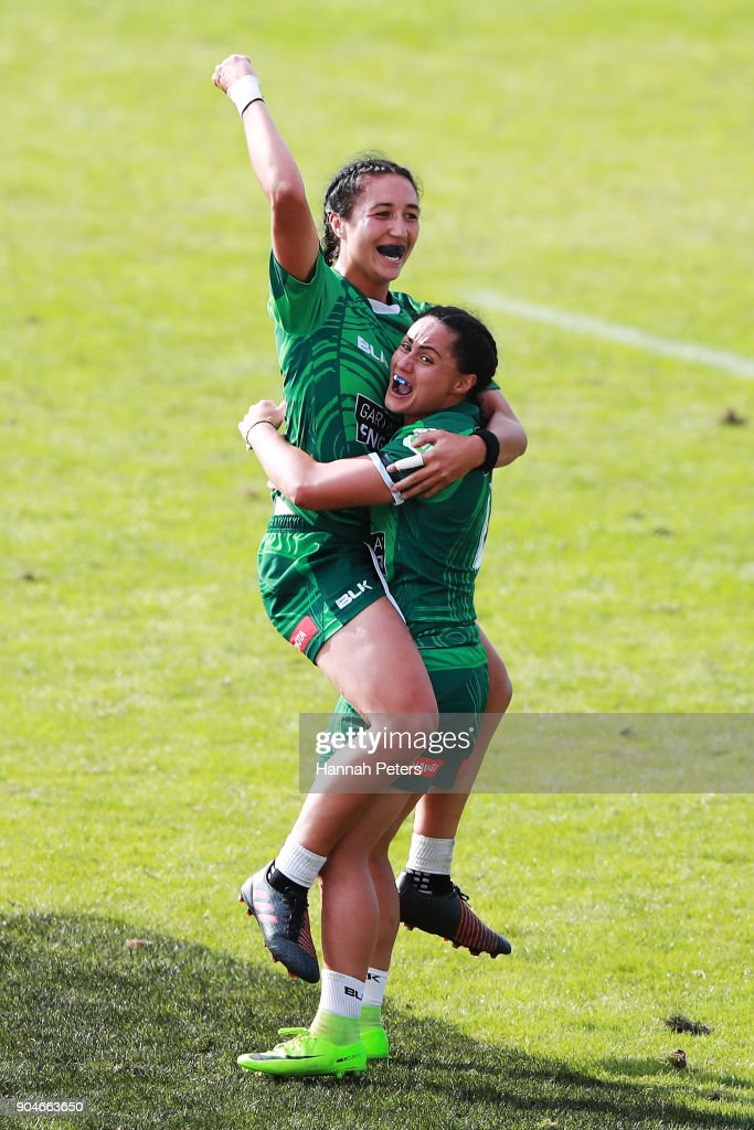 Sarah Goss of Manawatu celebrates with Janna Vaughan of Manawatu after winning the Bayleys National Sevens Women's Cup Final match between Manawatu and Waikato at Rotorua International Stadium on January 14, 2018 in Rotorua, New Zealand.