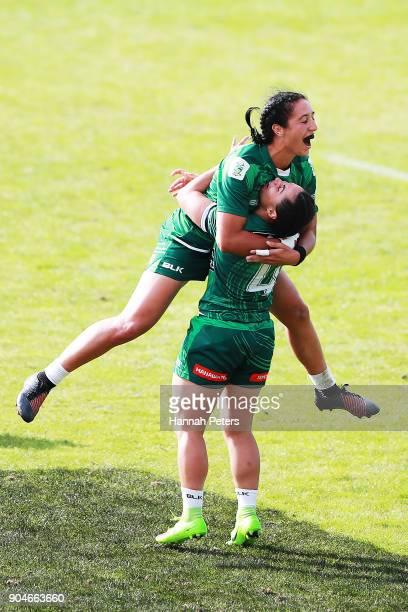 Sarah Goss of Manawatu celebrates with Janna Vaughan of Manawatu after winning the Bayleys National Sevens Women's Cup Final match between Manawatu...
