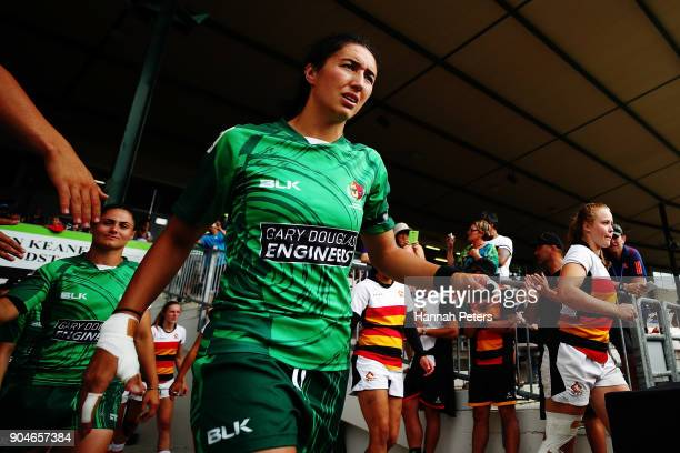 Sarah Goss of Manawatu walks out for the Bayleys National Sevens Women's Cup Final match between Manawatu and Waikato at Rotorua International...