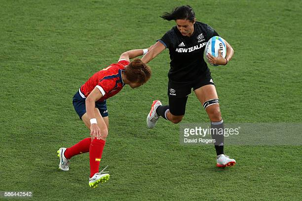 Sarah Goss of New Zealand and Barbara Pla of Spain compete for the ball during a Women's Pool B rugby match between New Zealand and Spain on Day 1 of...