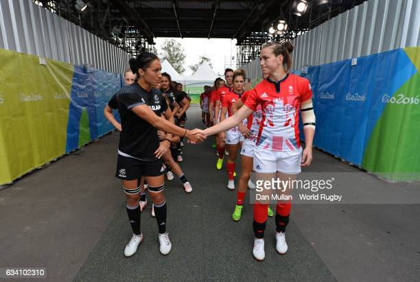 Sarah Goss of New Zealand and Emily Scarratt of Great Britain shake hands prior to the Women's Rugby Sevens Semi Final match between Great Britain...