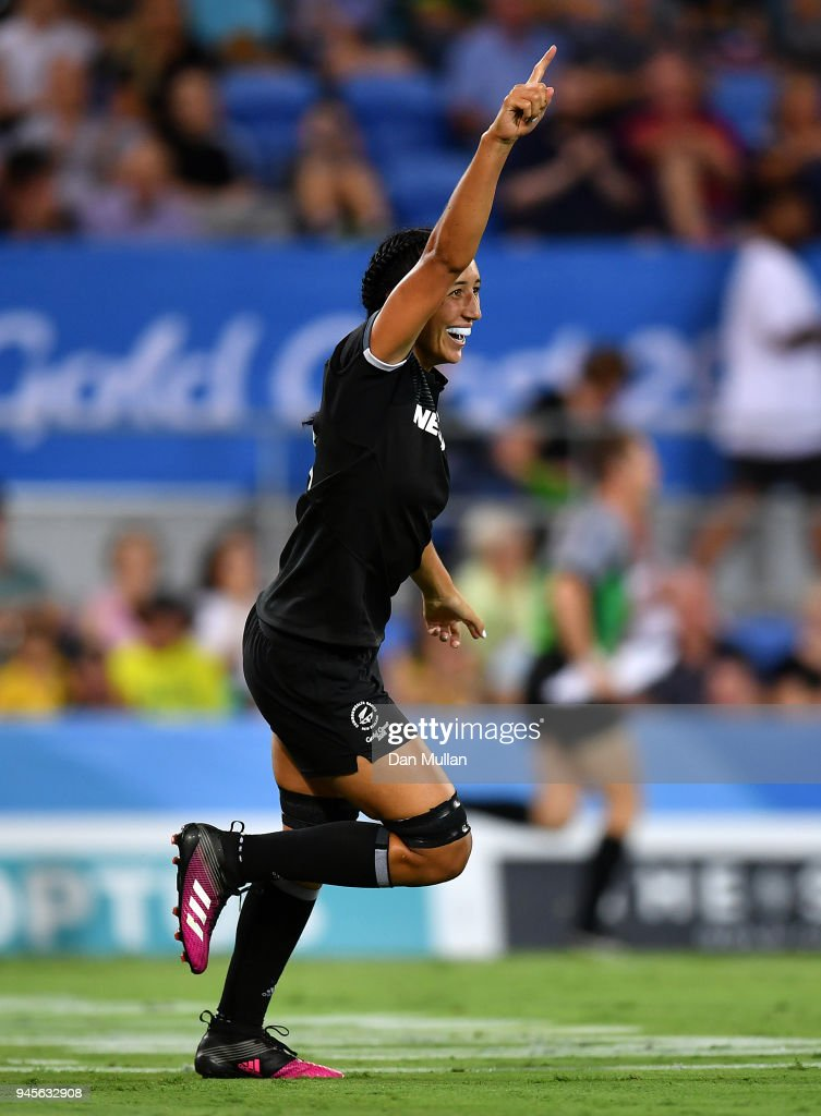 Sarah Goss of New Zealand celebrates scoring a try during the Rugby Sevens Women's Pool A match between New Zealand and South Africa on day nine of the Gold Coast 2018 Commonwealth Games at Robina Stadium on April 13, 2018 on the Gold Coast, Australia.