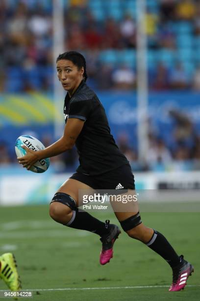 Sarah Goss of New Zealand in action in the match between New Zealand and Kenya during Rugby Sevens on day nine of the Gold Coast 2018 Commonwealth...