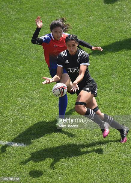 Sarah Goss of New Zealand passes the ball on day two of the HSBC Women's Rugby Sevens Kitakyushu Cup quarter-final match between New Zealand and...