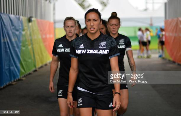 Sarah Goss of New Zealand prepares to lead out her team during the Women's Rugby Sevens Semi Final match between Great Britain and New Zealand on day...