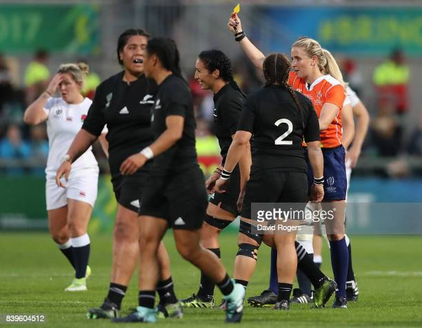 Sarah Goss of New Zeland is shown a yellow card by referee Joy Neville during the Women's Rugby World Cup 2017 Final between England and New Zealand...