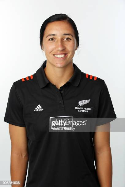 Sarah Goss poses during the New Zealand Women's Rugby Sevens Portrait Session at The Mount at the High Performance Centre on January 15, 2018 in...
