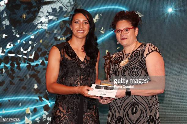 Sarah Goss wins the New Zealand Rugby Women's Player of the Year presented by Louisa Wall during the ASB Rugby Awards 2018 at Sky City on December...
