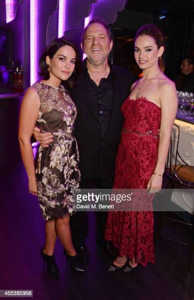 Sarah Green, Harvey Weinstein and Lily James attend the Marchesa S/S 2015 after party sponsored by Revlon at Le Peep Boutique on September 13, 2014...
