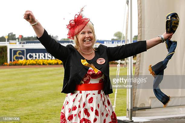 Sarah Green part owner of Planet Rock celebrates after Race 6 NZ 1000 Guineas during NZ Cup 1000 Guineas Day at Riccarton Park Racecourse on November...