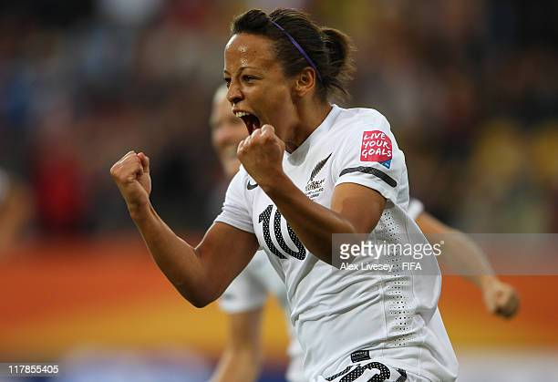 Sarah Gregorius of New Zealand celebrates after scoring the opening goal during the FIFA Women's World Cup Group B match between New Zealand and...