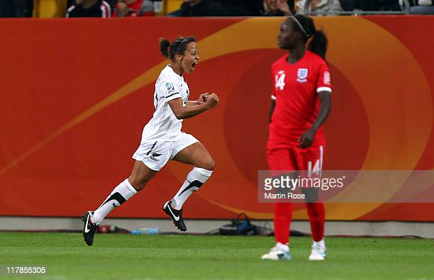 Sarah Gregorius of New Zealand celebrates after she scores her team's opening goal during the FIFA Women's World Cup 2011 Group B match between New...
