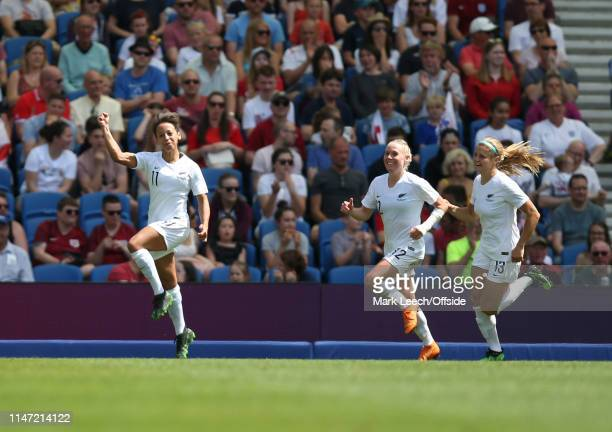 Sarah Gregorius of New Zealand celebrates the only goal during the International Friendly between England Women and New Zealand Women at Amex Stadium...