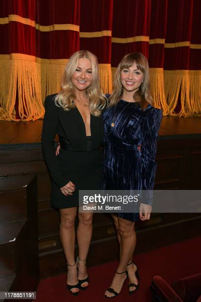Sarah Hadland and Lisa McGrillis attend the press night after party for Noises Off at The Garrick Theatre on October 03 2019 in London England