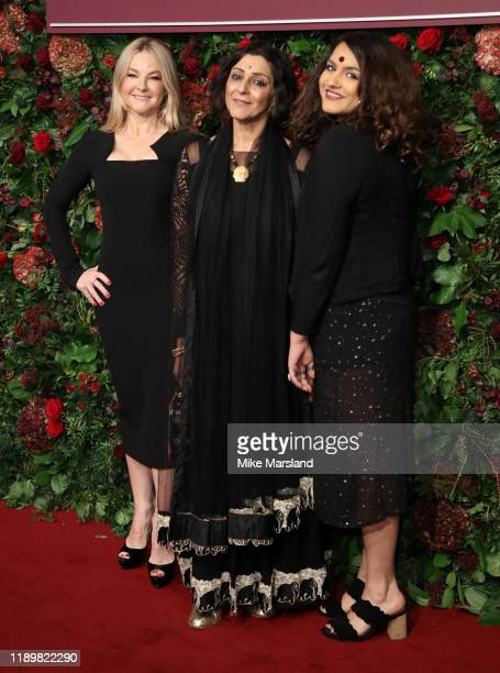 Sarah Hadland Meera Syal and guest attends the 65th Evening Standard Theatre Awards at the London Coliseum on November 24 2019 in London England