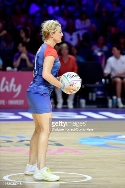 Sarah Hadland plays at the first ever 'All Star Netball for Sport Relief' event at MS Bank Arena on July 19 2019 in Liverpool England