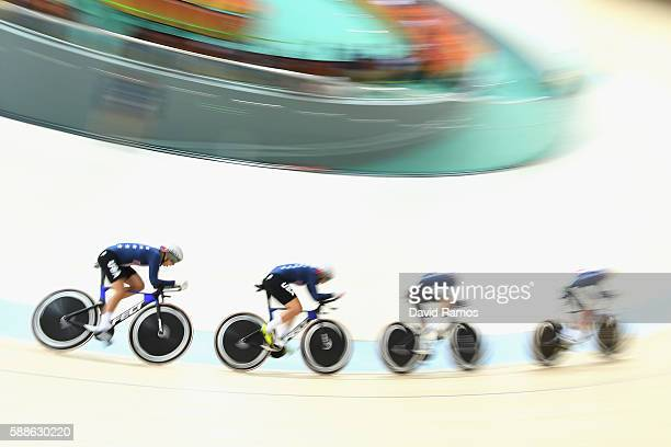 Sarah Hammer Kelly Catlin Chloe Dygert and Jennifer Valente of the United States compete in the Women's Team Pursuit Track Cycling Qualifying on...