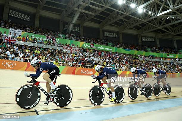 Sarah Hammer Kelly Catlin Chloe Dygert and Jennifer Valente of the United States compete in the Women's Team Pursuit Final for the Gold medal on Day...