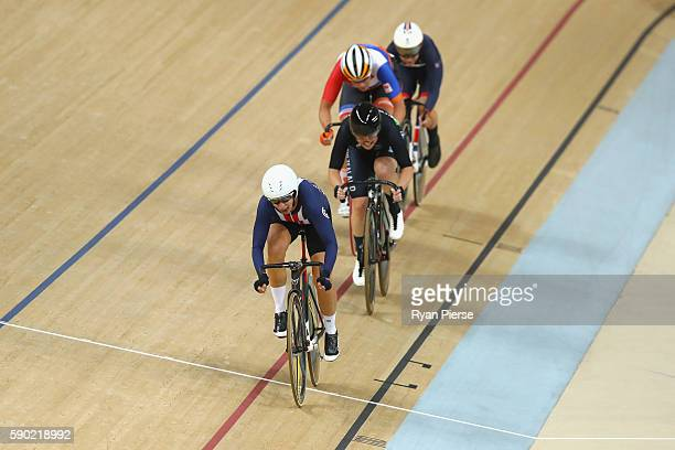 Sarah Hammer of the United States ahead of Lauren Ellis of New Zealand during the Women's Omnium Points race on Day 11 of the Rio 2016 Olympic Games...