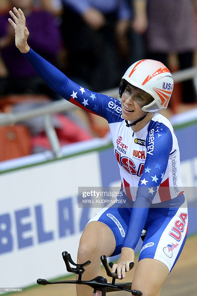 US Sarah Hammer reacts after winning the UCI Track Cycling World Championships women's individual pursuit in Minsk on February 20, 2013.