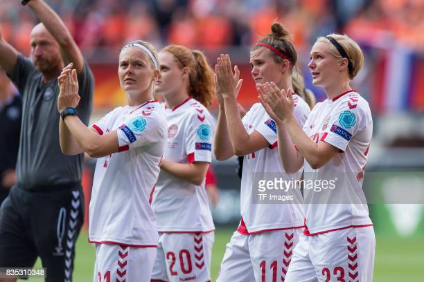 Sarah Hansen of Denmark Stine Pedersen of Denmark Katrine Veje of Denmark and Luna Gewitz of Denmark looks on during the UEFA Women's Euro 2017 final...