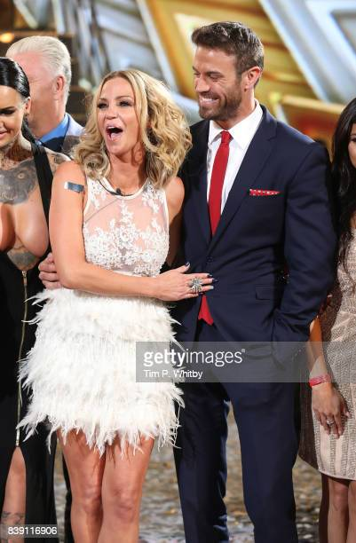 Sarah Harding and Chad Johnson pose for a photo after they leave the house Harding was announced as the winner during the Celebrity Big Brother Final...