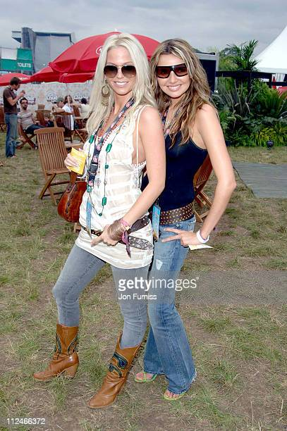 Sarah Harding and Nadine Coyle in the Virgin Mobile Louder Lounge at the V Festival