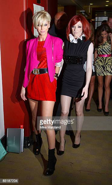 Sarah Harding and Nicola Roberts sign copies of Girls Aloud 'Dreams That Glitter Our Story' at Waterstone's on October 9 2008 in London England