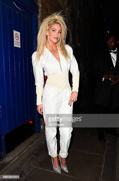 Sarah Harding arrives at Walkers Bring It Back Launch party in South East London on September 3 2015 in London England