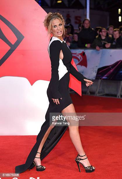 Sarah Harding arrives for the European Premiere of 'Batman V Superman: Dawn Of Justice' at Odeon Leicester Square on March 22, 2016 in London,...