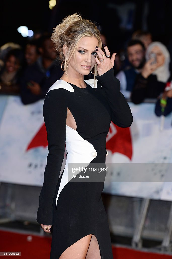 Sarah Harding arrives for the European Premiere of 'Batman V Superman: Dawn Of Justice' at Odeon Leicester Square on March 22, 2016 in London, England.