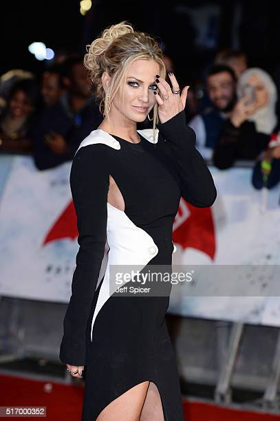 Sarah Harding arrives for the European Premiere of 'Batman V Superman Dawn Of Justice' at Odeon Leicester Square on March 22 2016 in London England