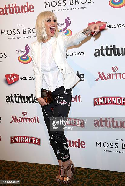 Sarah Harding attends the 20th birthday party of Attitude Magazine at The Grosvenor House Hotel on March 29 2014 in London England