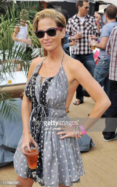 Sarah Harding attends the Barclaycard Unwind VIP Pod during Wireless Festival 2011 at Hyde Park on July 2 2011 in London England