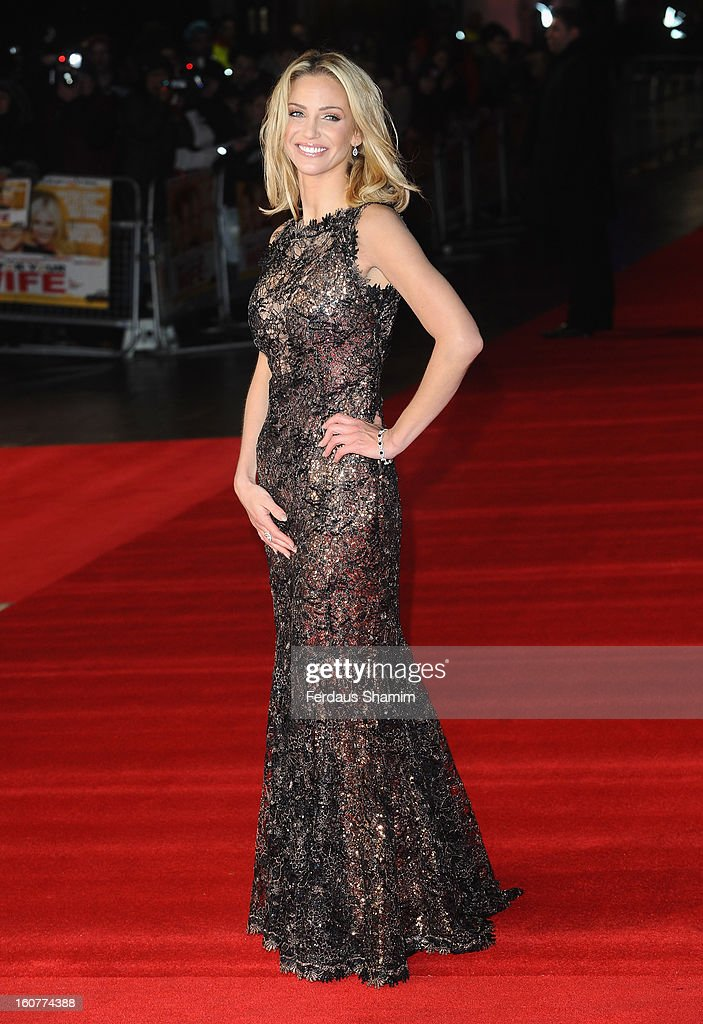 Sarah Harding attends the UK Premiere of 'Run For Your Wife' at Odeon Leicester Square on February 5, 2013 in London, England.